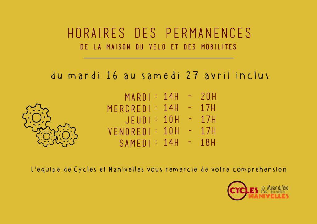 Horaires exceptionnels pour les vacances de Pâques ! @ Maison du Vélo et des Mobilités