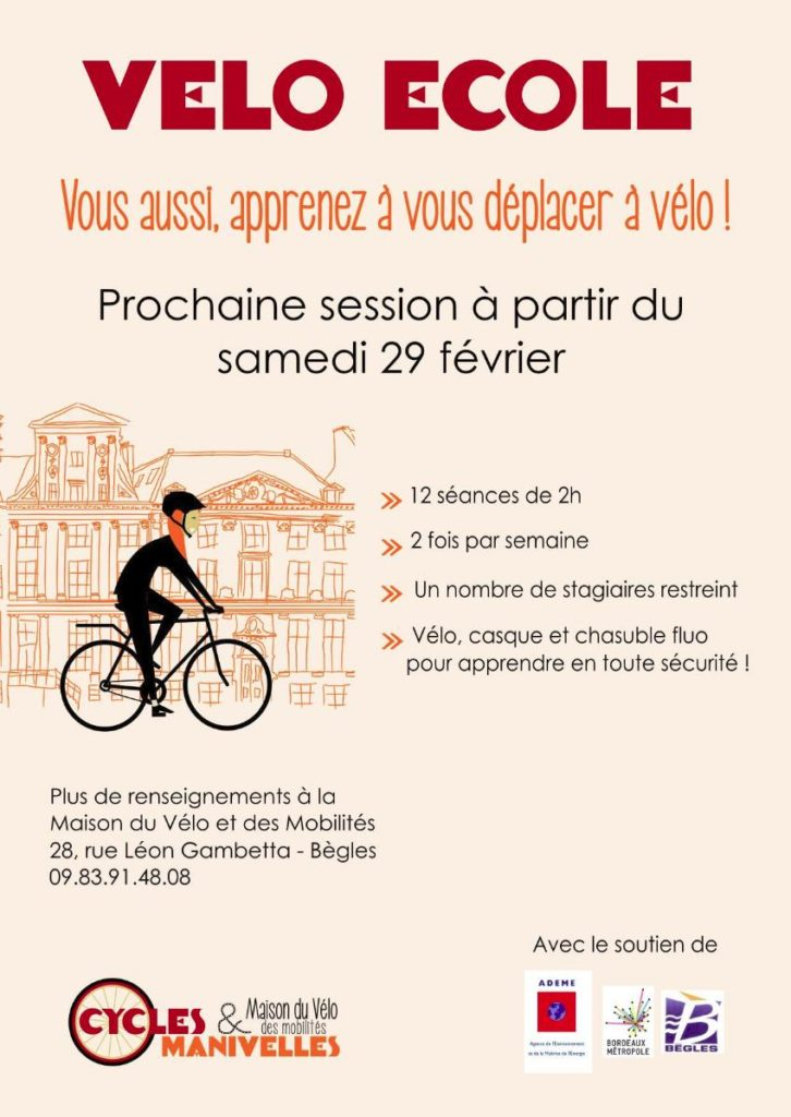 visuel de la velo ecole adultes session du printemps 2020