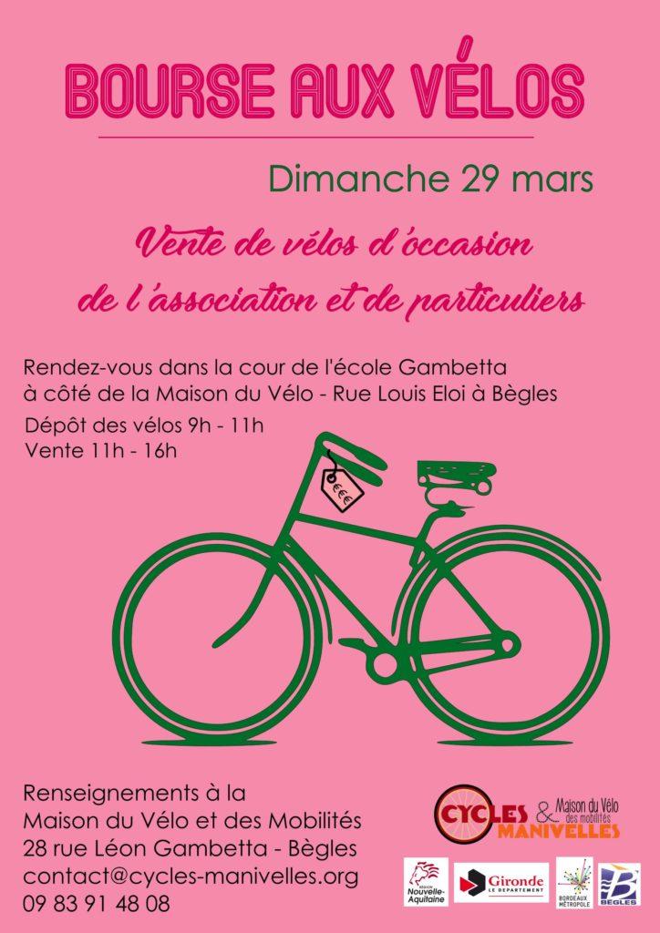 Tu cherches un vélo d'occasion ?! Tu voudrais revendre ton vélo ?! Notre bourse aux vélos annuelle aura lieu dimanche 29 mars dans la cour de l'école Gambetta, à côté de la Maison du Vélo à Bègles !  Seront mis en vente des vélos de l'association et de particuliers !  Tu veux vendre un vélo : amène ton vélo le jour même entre 9h et 11h. Tu viendras récupérer l'argent de la vente ou le vélo si invendu entre 16h et 16h45.  Tu cherches à acheter un vélo : les ventes auront lieu de 11h à 16h. Mais attention, premier.e.s arrivé.e.s ; premier.e.s servi.e.s !